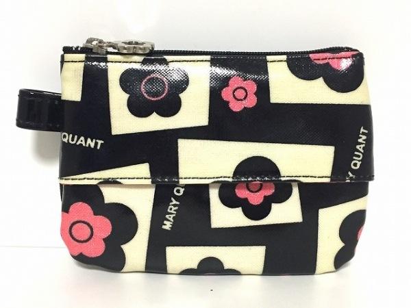 MARY QUANT(マリークワント) 小物入れ 黒×アイボリー×ピンク 花柄/ティッシュケース