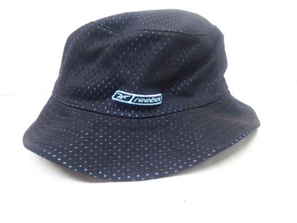 -(--) 帽子 黒×ライトブルー 1