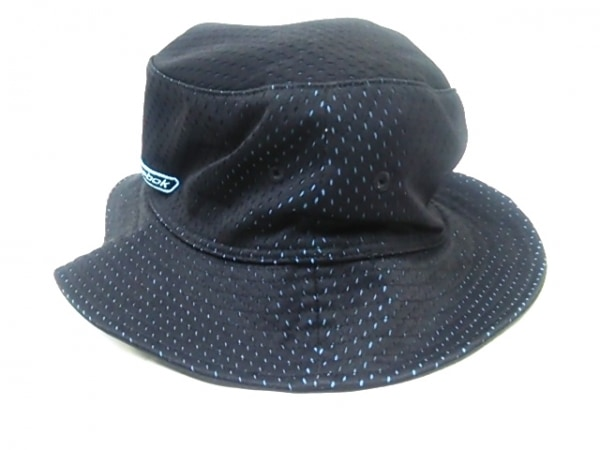 -(--) 帽子 黒×ライトブルー 2