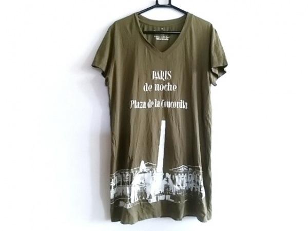 KRISVANASSCHE(クリスヴァンアッシュ) 半袖Tシャツ サイズXS メンズ カーキ×白