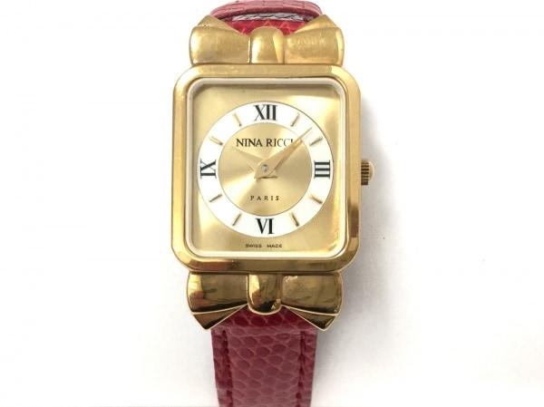 ニナリッチ 腕時計美品  D950 レディース リボン/革ベルト 1