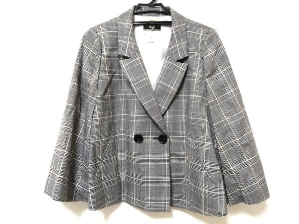 Swingle(スウィングル) ジャケット レディース美品  ライトグレー×白×黒 チェック柄