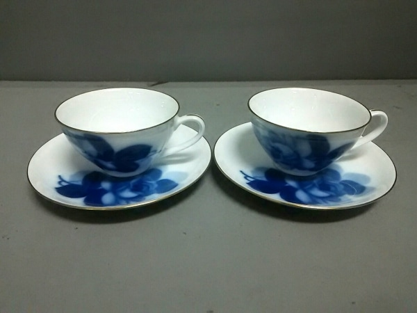オオクラチャイナ カップ&ソーサー新品同様  白×ネイビー 2客セット/薔薇 陶器
