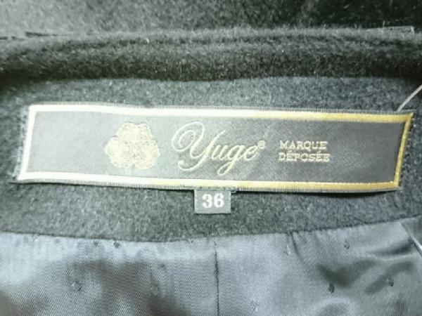 Yuge(ユージュ) コート サイズ36 S レディース 黒×ダークグレー フリル/冬物