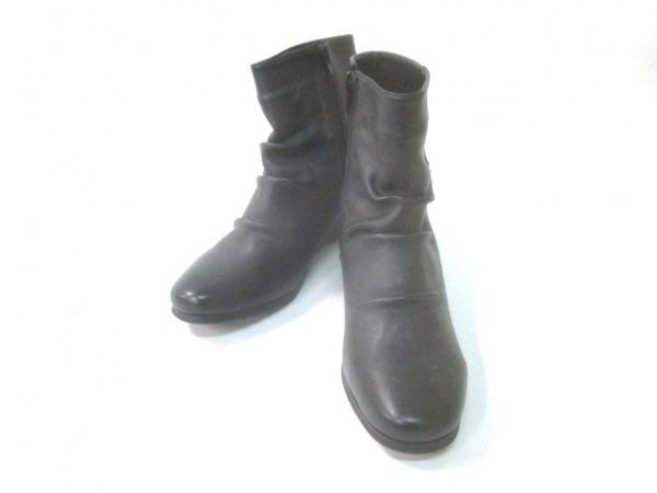 AURORA(アウロラ) ショートブーツ L EEE レディース 黒 ウェッジソール レザー