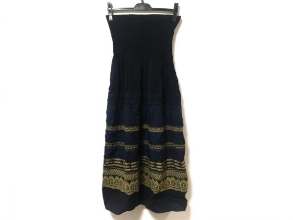 マックススタジオ ドレス サイズS レディース 黒×ネイビー×ライトブラウン フリル