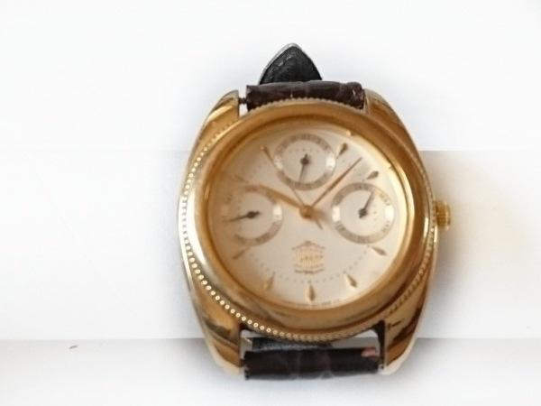 ジェイプレス 腕時計 6305-G30836 レディース トリプルカレンダー/革ベルト 白
