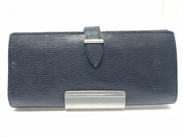 GANZO epoi(ガンゾエポイ) 長財布 ネイビー 型押し加工 レザー