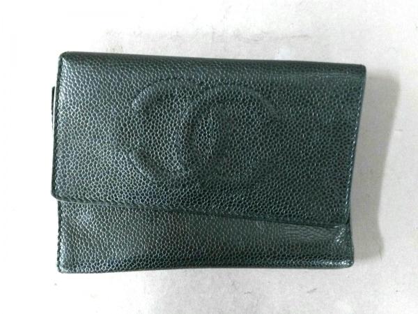 CHANEL(シャネル) 3つ折り財布 キャビアスキン 黒 キャビアスキン