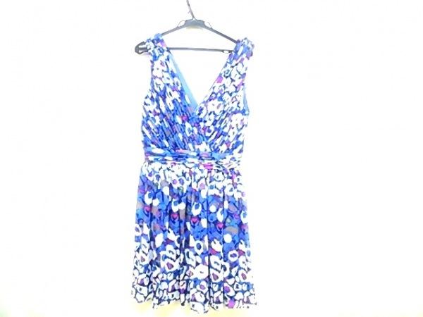 マシューウィリアムソン ワンピース サイズ6 M レディース ブルー×白×マルチ 花柄