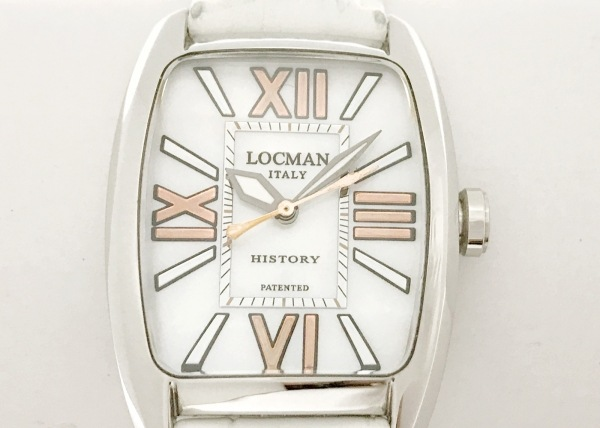 ロックマン 腕時計 HISTORY 488N レディース 革ベルト/シェル文字盤/型押し加工