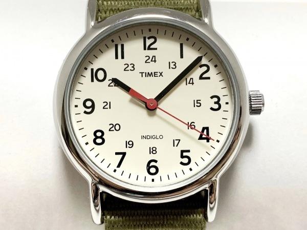 TIMEX(タイメックス) 腕時計新品同様  CR1216CELL メンズ ナイロンベルト アイボリー
