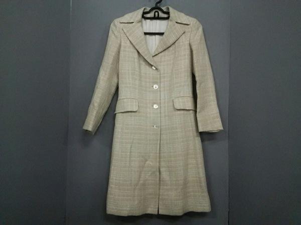 Kiton(キートン) コート サイズ40 M レディース美品  ベージュ×白 ツイード/冬物
