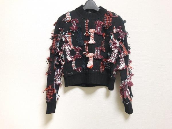 sea(シー) 長袖セーター サイズS レディース美品  黒×ボルドー×マルチ フリンジ