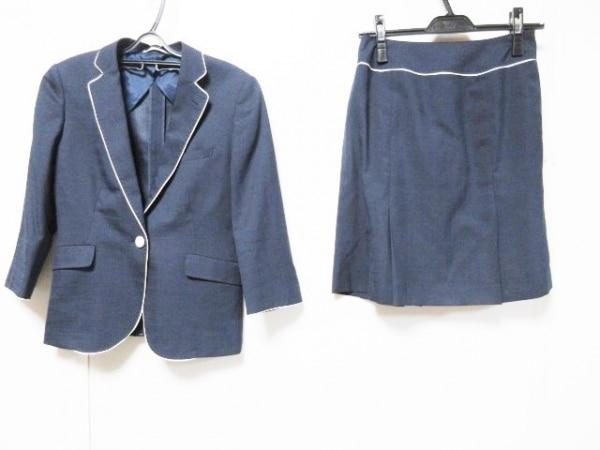 RHYME(ライム) スカートスーツ サイズ7 S レディース ネイビー×白 ORIHICA