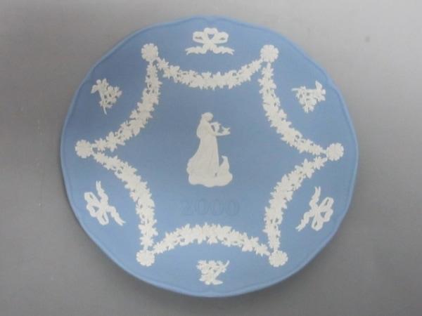 ウェッジウッド 小物美品  ジャスパー ライトブルー×アイボリー 2000 陶器