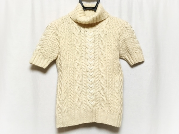 INGEBORG(インゲボルグ) 半袖セーター レディース アイボリー×白 タートルネック