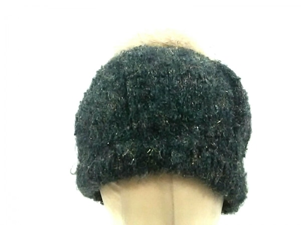 COEUR(クール) ニット帽 ダークグレー×ベージュ 化学繊維
