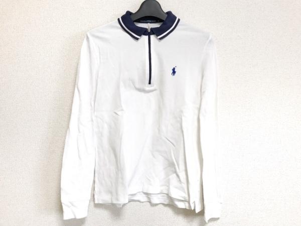 ラルフローレンゴルフ 長袖ポロシャツ サイズL レディース美品  白×ダークネイビー
