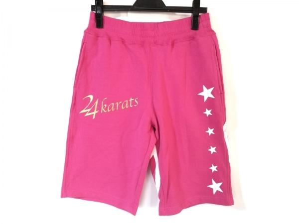 24カラッツステイゴールド ハーフパンツ サイズS レディース ピンク×白×ゴールド