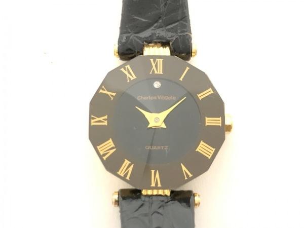シャルルホーゲル 腕時計 CV-0904-2 レディース 革ベルト/型押し加工 黒