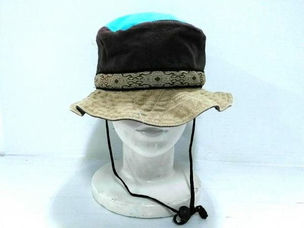 KAVU(カブー) 帽子 S ベージュ×パープル×ライトブルー コットン