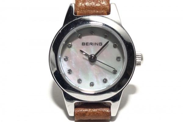 ベーリング 腕時計 - 11119-504 レディース シェル文字盤/革ベルト/ラインストーン