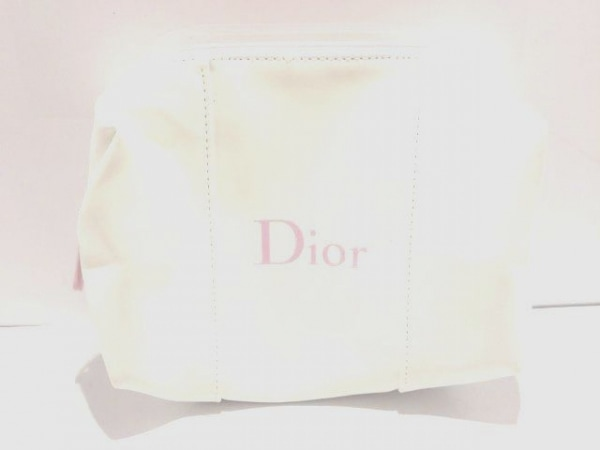 Dior Beauty(ディオールビューティー) ポーチ美品  白×ピンク 化学繊維
