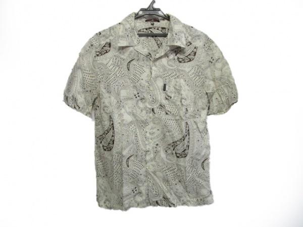 ポールスミスレッドイヤー 半袖シャツ サイズM メンズ アイボリー×ダークブラウン