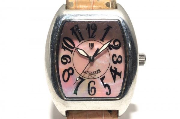 ランカスター 腕時計 REF.0265 レディース 革ベルト/型押し加工/シェル文字盤