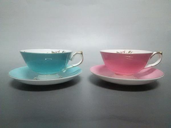 Aynsley(エインズレイ) カップ&ソーサー新品同様  ピンク×ライトブルー×マルチ 陶器