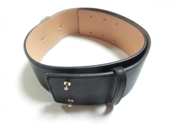 エリザベッタフランキ ベルト 40 黒×ゴールド ヘビ レザー×金属素材