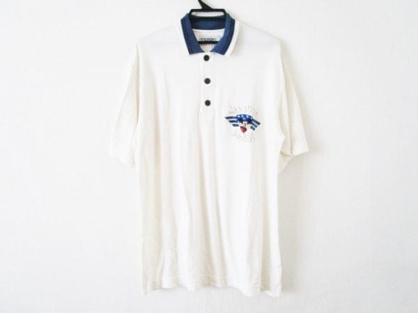 ICEBERG(アイスバーグ) 半袖ポロシャツ サイズL メンズ アイボリー×ネイビー DISNEY