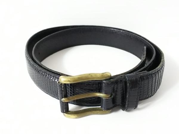 メンズメルローズ ベルト M 黒×ゴールド 型押し加工 レザー×金属素材