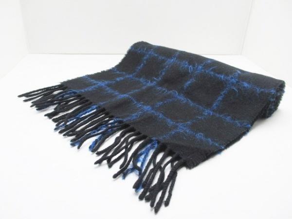 LOCHCARRON(ロキャロン) マフラー 黒×ブルー ウール×モヘア