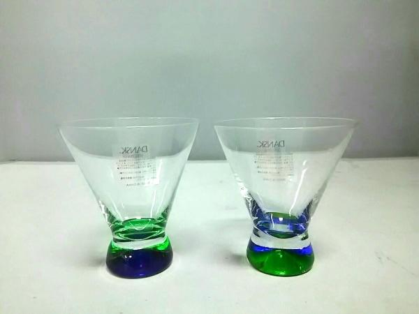 ダンスク ペアグラス新品同様  クリア×グリーン×パープル カクテルグラス ガラス