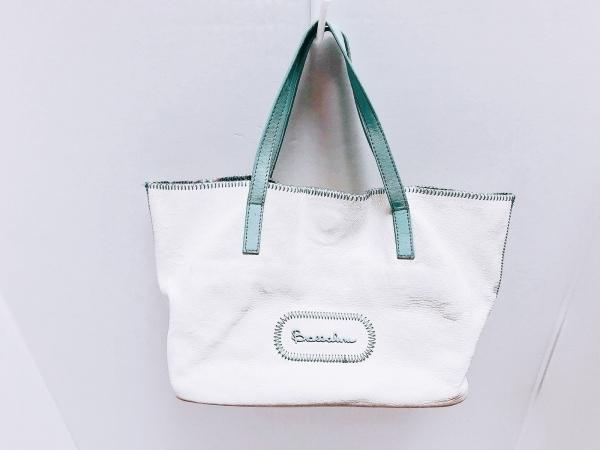 braccialini(ブラッチャリーニ) トートバッグ 白×ライトグリーン レザー