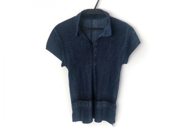 プリーツプリーズ 半袖ポロシャツ サイズ3 L レディース美品  ネイビー×マルチ