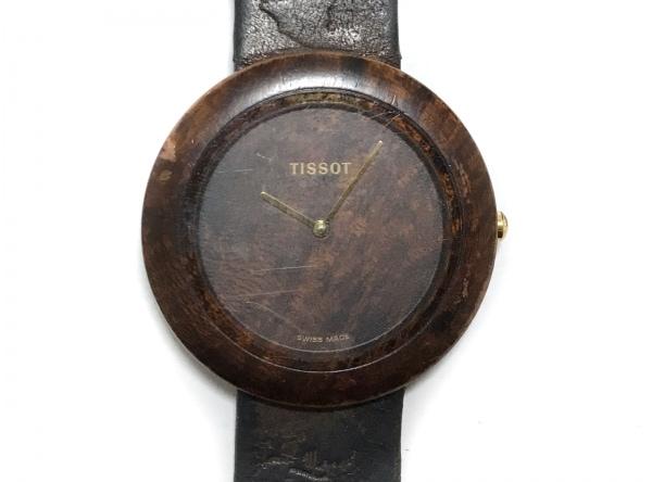 TISSOT(ティソ) 腕時計 wood watch W151 レディース 革ベルト ダークブラウン