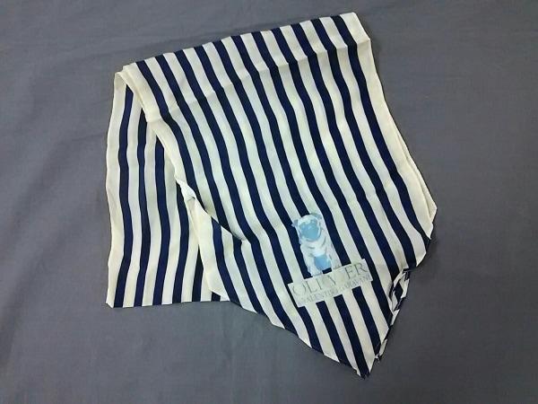 OLIVER(オリバーバレンチノ) スカーフ美品  白×ブルー ストライプ/VALENTINOGARAVANI