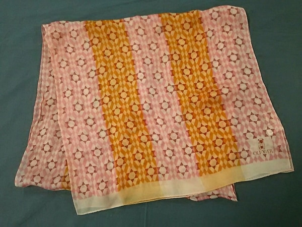 OLIVER(オリバーバレンチノ) スカーフ ピンク×オレンジ×白