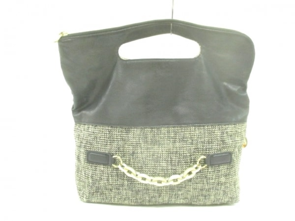 GALLARDAGALANTE(ガリャルダガランテ) ハンドバッグ 黒×マルチ ジャガード×レザー