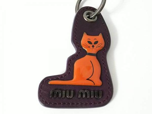 ミュウミュウ キーホルダー(チャーム) パープル×オレンジ 猫 4