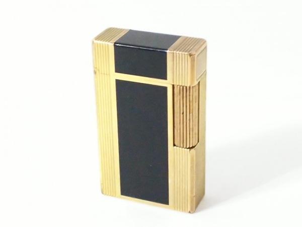 Dupont(デュポン) ライター ゴールド×黒 着火確認出来ず 金属素材