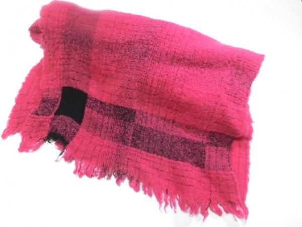 Falierosarti(ファリエロサルティ) ストール(ショール) ピンク×黒 チェック柄