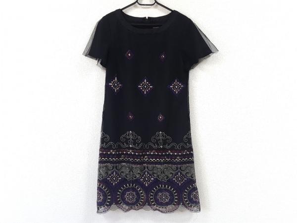 ヴィヴィアンタム ワンピース サイズ0 XS レディース 黒×マルチ 刺繍/ラメ