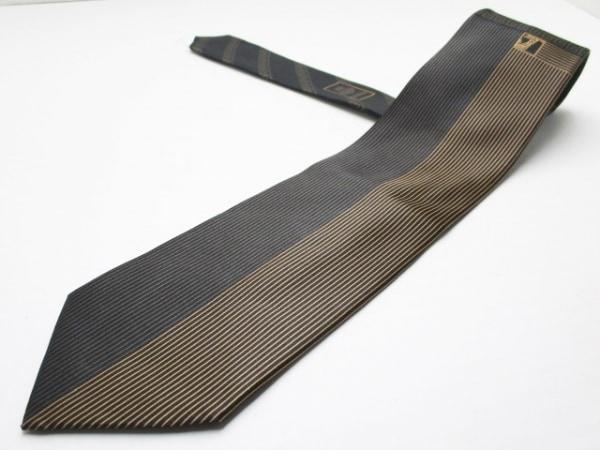 VERSACE(ヴェルサーチ) ネクタイ メンズ 黒×ブラウン ストライプ