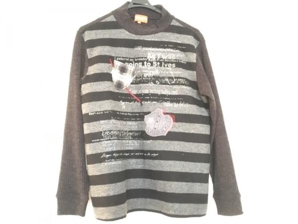 アンジェロガルバス 長袖セーター サイズM メンズ ダークグレー×グレー