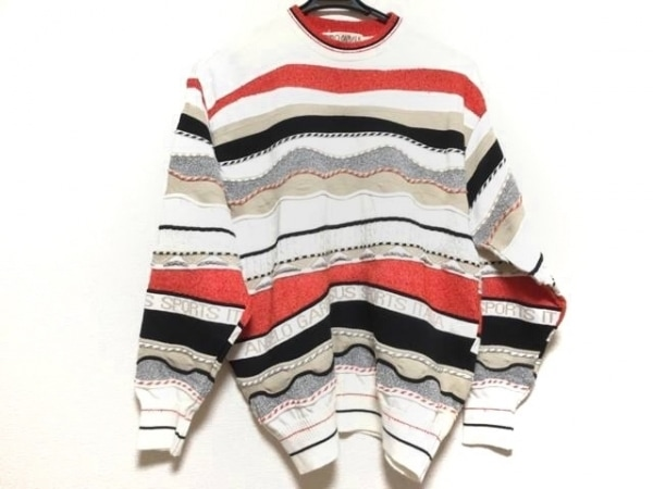 アンジェロガルバス 長袖セーター サイズM レディース 白×レッド×マルチ ボーダー