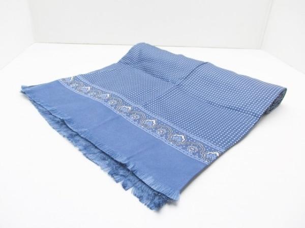 Roberta(ロベルタ) マフラー美品  ダークネイビー×ブルー×白 ドット柄 シルク
